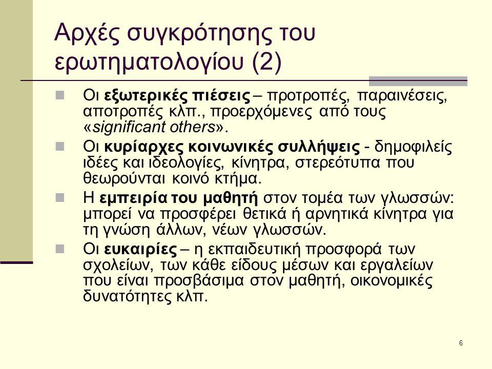 6 Αρχές συγκρότησης του ερωτηματολογίου (2) Οι εξωτερικές πιέσεις – προτροπές, παραινέσεις, αποτροπές κλπ., προερχόμενες από τους «significant others».