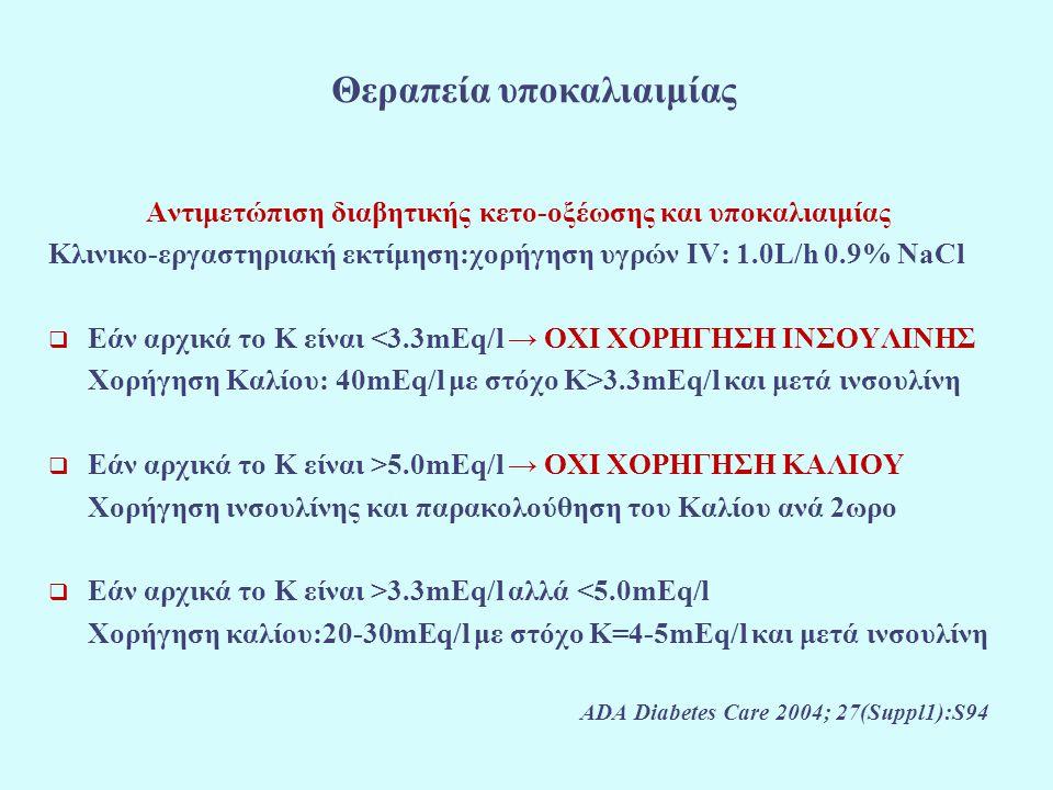 Θεραπεία υποκαλιαιμίας Αντιμετώπιση διαβητικής κετο-οξέωσης και υποκαλιαιμίας Κλινικο-εργαστηριακή εκτίμηση:χορήγηση υγρών IV: 1.0L/h 0.9% NaCl  Εάν