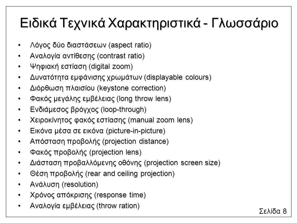 Ειδικά Τεχνικά Χαρακτηριστικά - Γλωσσάριο Λόγος δύο διαστάσεων (aspect ratio)Λόγος δύο διαστάσεων (aspect ratio) Αναλογία αντίθεσης (contrast ratio)Αν