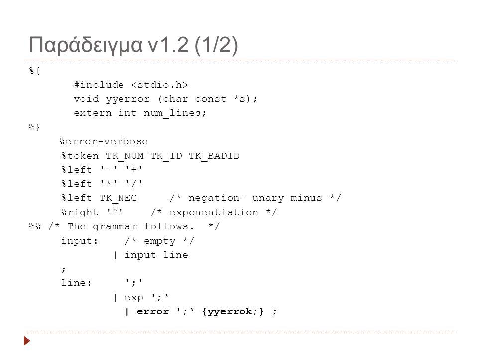 Παράδειγμα v1.2 (1/2) %{ #include void yyerror (char const *s); extern int num_lines; %} %error-verbose %token TK_NUM TK_ID TK_BADID %left - + %left * / %left TK_NEG /* negation--unary minus */ %right ^ /* exponentiation */ % /* The grammar follows.