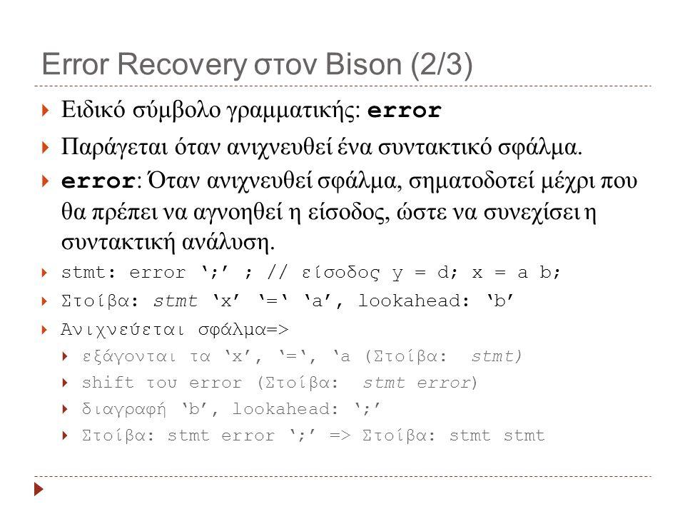 Error Recovery στον Bison (3/3)  error: Μόλις ενεργοποιηθεί το σύμβολο καλείται η yyerror()  yyerrok: μακροεντολή για την ένδειξη τέλους φάσης Error Recovery  Φειδώ στη χρήση του error:  δημιουργία συγκρούσεων  αναφορά λαθών που δεν υπάρχουν  Error recovery strategies are necessarily guesses.