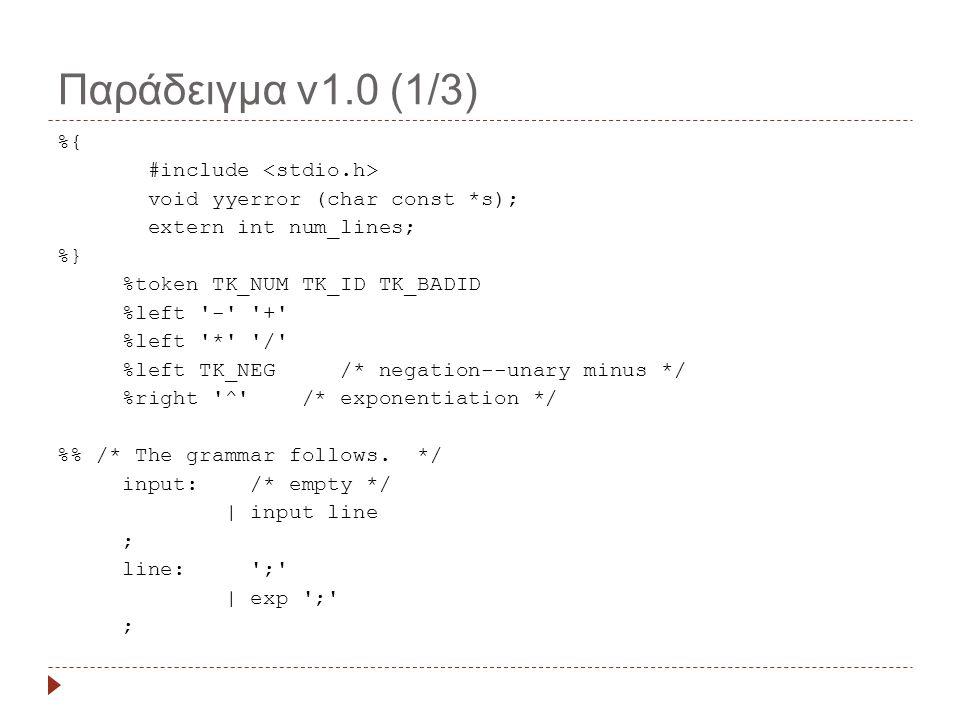 Παράδειγμα v1.0 (2/3) exp: TK_NUM | TK_ID | exp + exp {printf( exp + exp\n );} | exp - exp {printf( exp - exp\n );} | exp * exp {printf( exp * exp\n );} | exp / exp {printf( exp / exp\n );} | - exp %prec TK_NEG {printf( -exp\n );} | exp ^ exp {printf( exp ^ exp\n );} | ( exp ) {printf( ( exp )\n );} ; % int main(void) { return yyparse(); } void yyerror (char const *s) { printf( %d: %s\n , num_lines, s); }