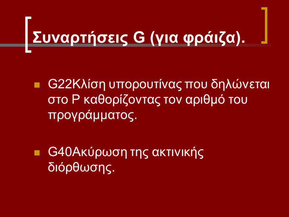 Συναρτήσεις G (για φράιζα). G22Κλίση υπορουτίνας που δηλώνεται στο Ρ καθορίζοντας τον αριθμό του προγράμματος. G40Ακύρωση της ακτινικής διόρθωσης.