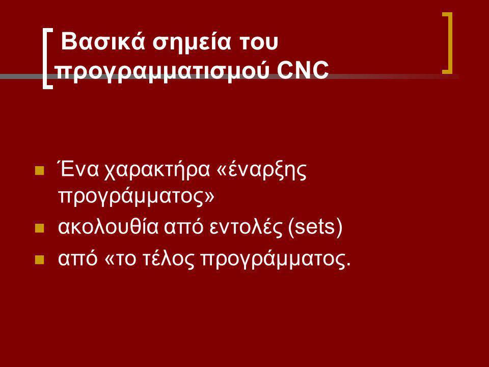 Βασικά σημεία του προγραμματισμού CNC Ένα χαρακτήρα «έναρξης προγράμματος» ακολουθία από εντολές (sets) από «το τέλος προγράμματος.