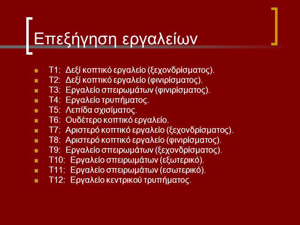 Επεξήγηση εργαλείων Τ1: Δεξί κοπτικό εργαλείο (ξεχονδρίσματος). Τ2: Δεξί κοπτικό εργαλείο (φινιρίσματος). Τ3: Εργαλείο σπειρωμάτων (φινιρίσματος). Τ4: