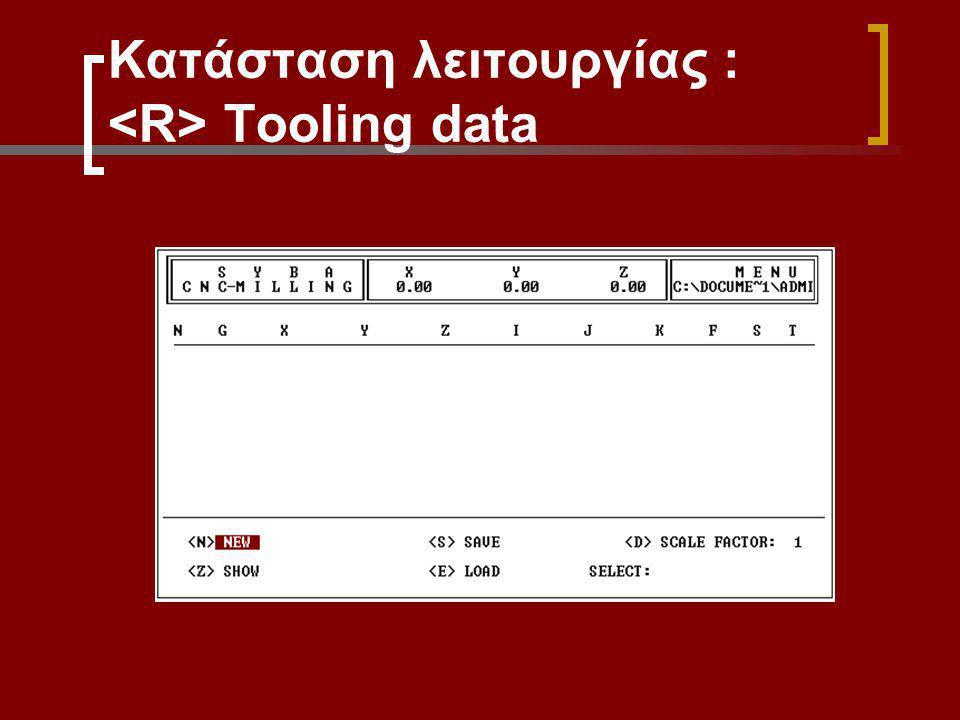 Κατάσταση λειτουργίας : Tooling data