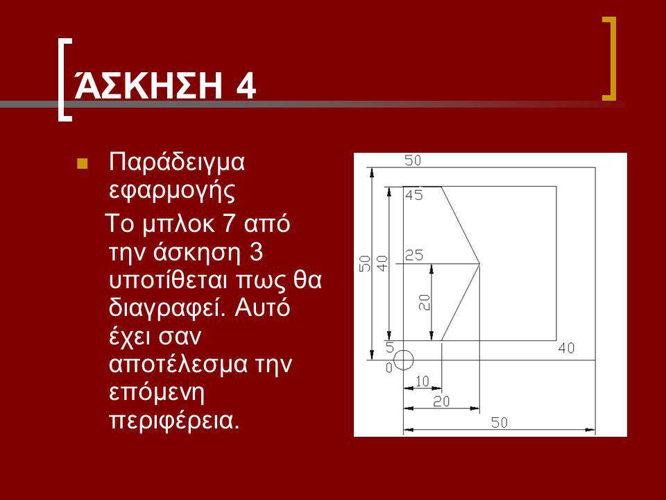 ΆΣΚΗΣΗ 4 Παράδειγμα εφαρμογής Το μπλοκ 7 από την άσκηση 3 υποτίθεται πως θα διαγραφεί.
