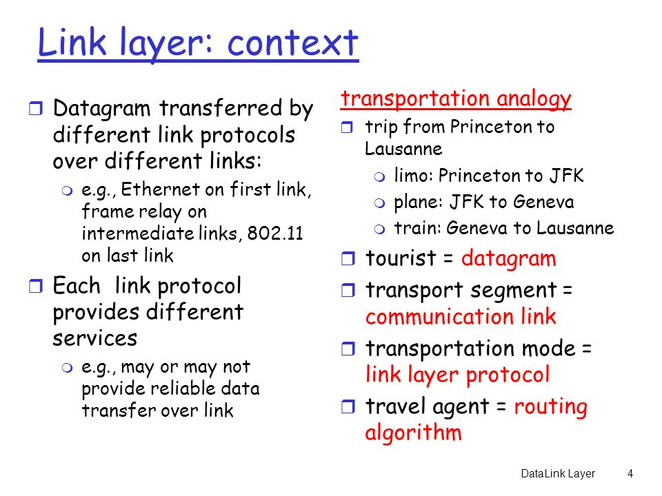 DataLink Layer4 Link layer: context r Datagram transferred by different link protocols over different links: m e.g., Ethernet on first link, frame relay on intermediate links, 802.11 on last link r Each link protocol provides different services m e.g., may or may not provide reliable data transfer over link transportation analogy r trip from Princeton to Lausanne m limo: Princeton to JFK m plane: JFK to Geneva m train: Geneva to Lausanne r tourist = datagram r transport segment = communication link r transportation mode = link layer protocol r travel agent = routing algorithm