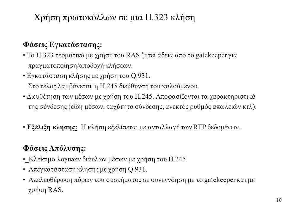 10 Χρήση πρωτοκόλλων σε μια Η.323 κλήση Φάσεις Εγκατάστασης: Το Η.323 τερματικό με χρήση του RAS ζητεί άδεια από το gatekeeper για πραγματοποίηση/αποδοχή κλήσεων.