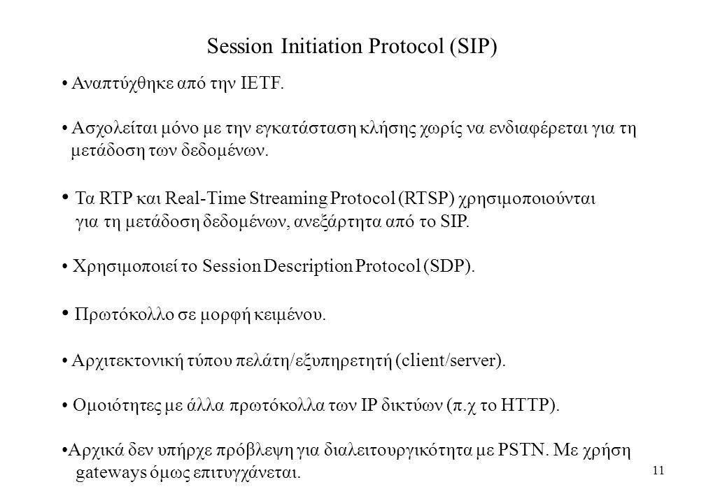 11 Session Initiation Protocol (SIP) Αναπτύχθηκε από την IETF.
