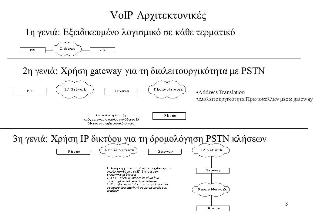 14 Σύγκριση H.323 - SIP Πολυπλοκότητα : Το Η.323 είναι δυαδικό πρωτόκολλο και άρα πιο πολύπλοκο.