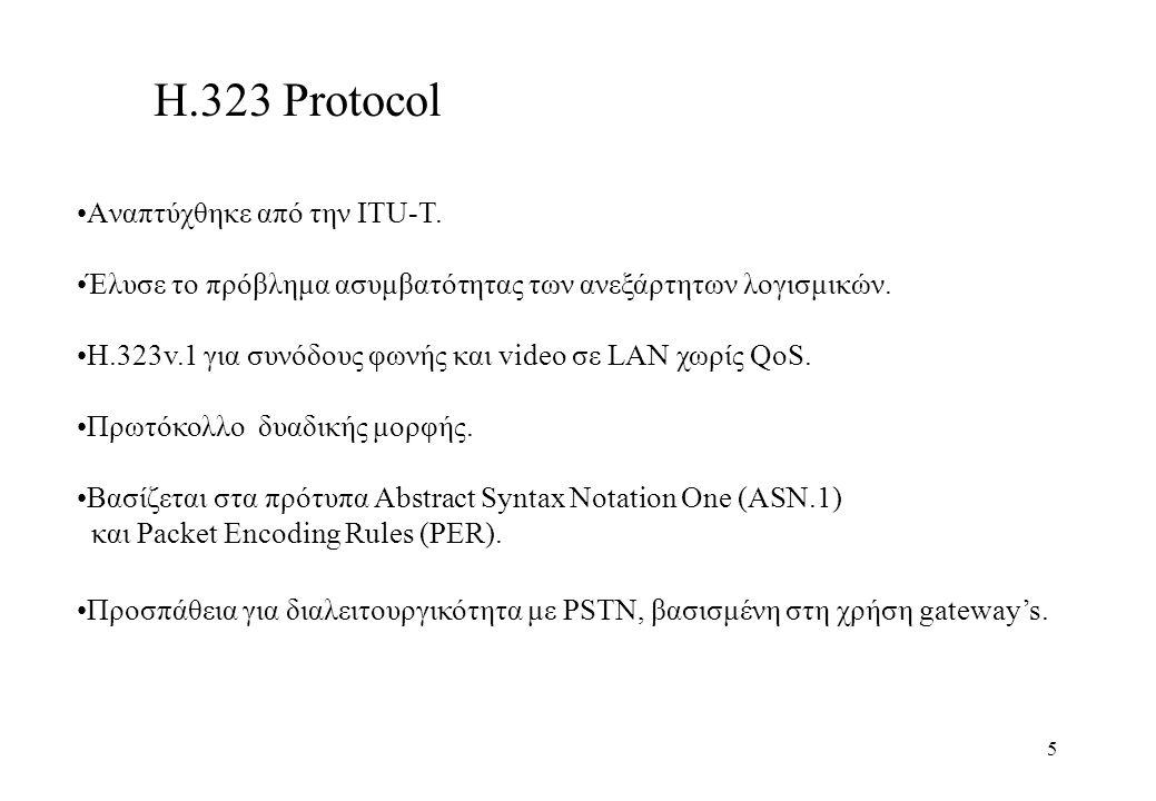 6 Οντότητες ενός Η.323 δικτύου Gatekeeper : Απαραίτητο για συνεργασία δύο Η.323 LANs Διαχείριση τερματικών συσκευών.