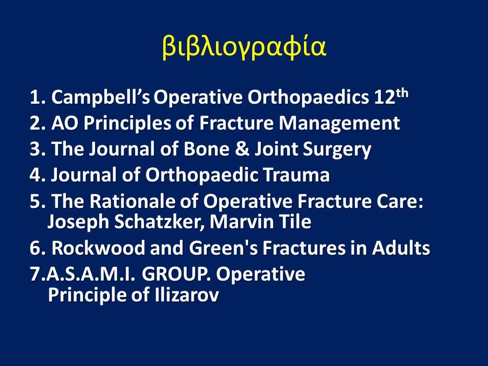 βιβλιογραφία 1. Campbell's Operative Orthopaedics 12 th 2. AO Principles of Fracture Management 3. The Journal of Bone & Joint Surgery 4. Journal of O