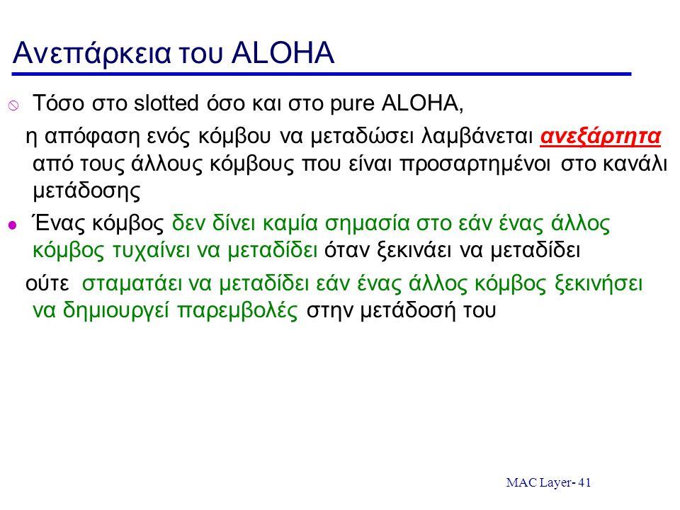 MAC Layer- 41 Ανεπάρκεια του ALOHA  Τόσο στο slotted όσο και στο pure ALOHA, η απόφαση ενός κόμβου να μεταδώσει λαμβάνεται ανεξάρτητα από τους άλλους