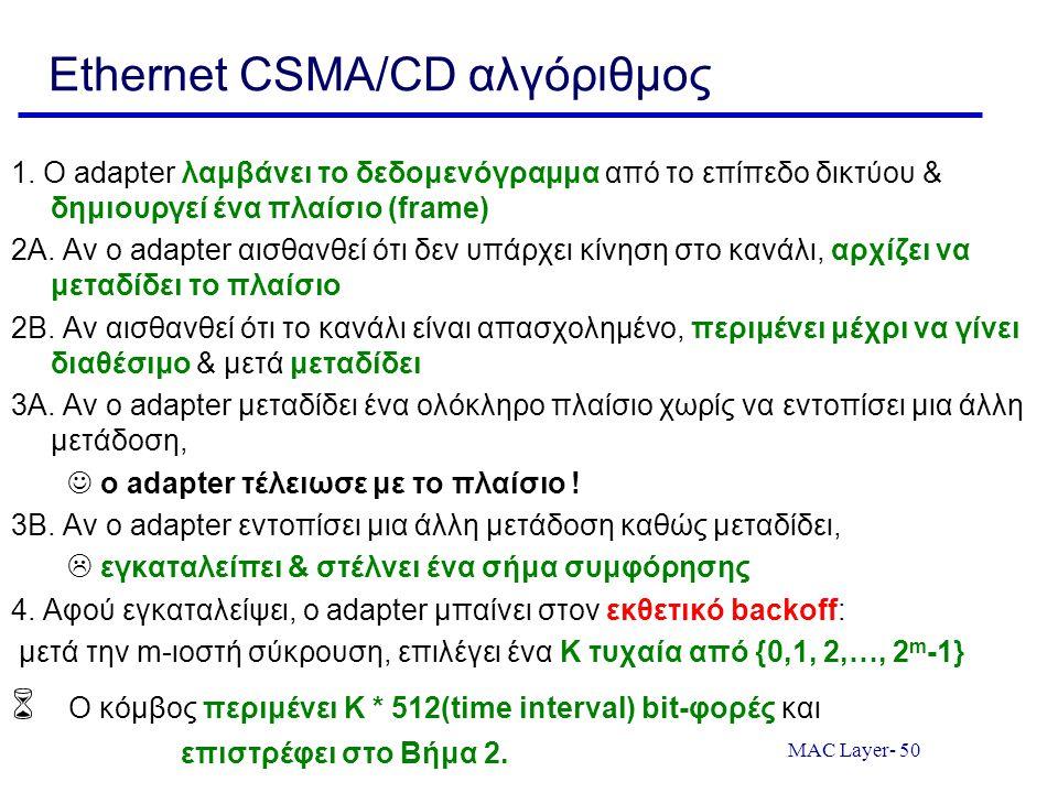 MAC Layer- 50 Ethernet CSMA/CD αλγόριθμος 1. Ο adapter λαμβάνει το δεδομενόγραμμα από το επίπεδο δικτύου & δημιουργεί ένα πλαίσιο (frame) 2A. Αν ο ada