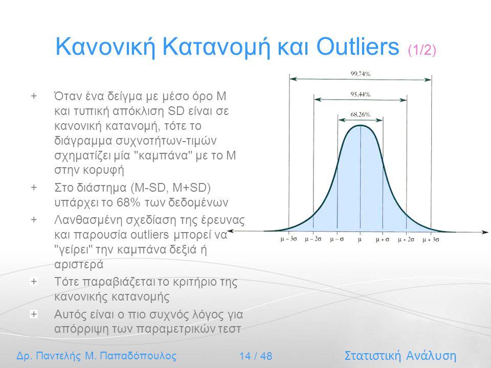 Στατιστική Ανάλυση Δρ. Παντελής Μ. Παπαδόπουλος 14 / 48 Κανονική Κατανομή και Outliers (1/2) Όταν ένα δείγμα με μέσο όρο Μ και τυπική απόκλιση SD είνα