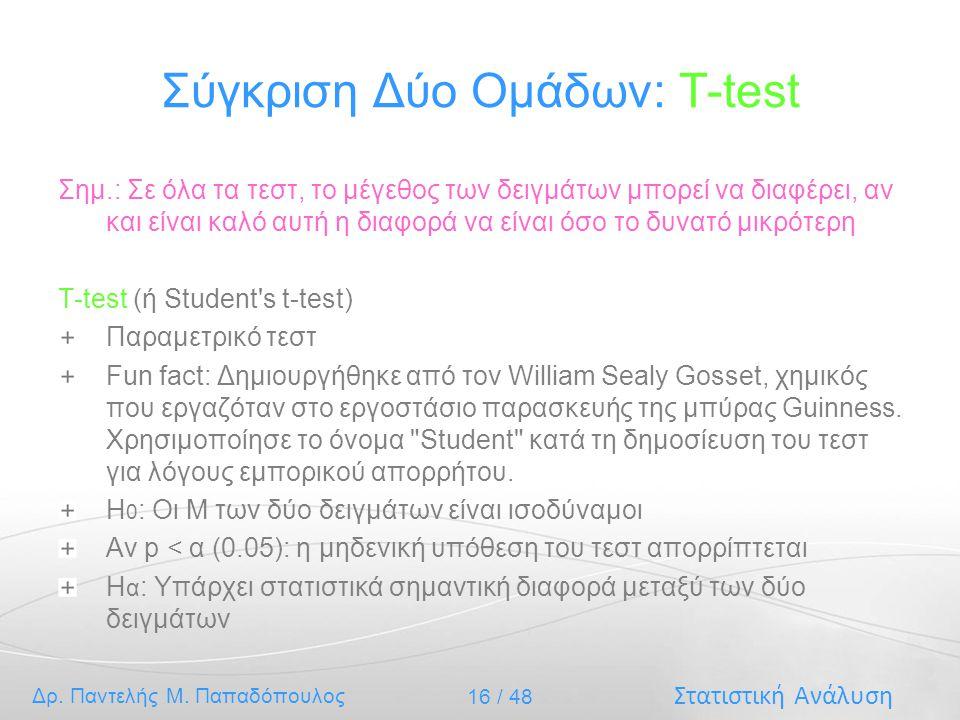 Στατιστική Ανάλυση Δρ. Παντελής Μ. Παπαδόπουλος 16 / 48 Σύγκριση Δύο Ομάδων: T-test Σημ.: Σε όλα τα τεστ, το μέγεθος των δειγμάτων μπορεί να διαφέρει,