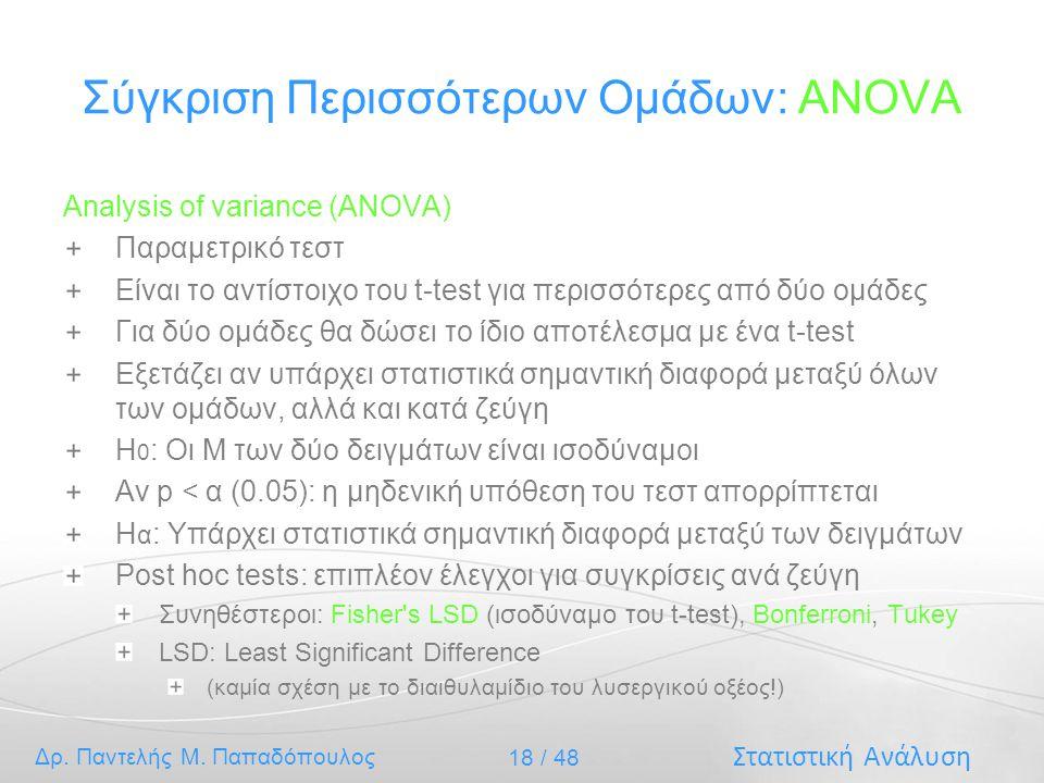 Στατιστική Ανάλυση Δρ. Παντελής Μ. Παπαδόπουλος 18 / 48 Σύγκριση Περισσότερων Ομάδων: ANOVA Analysis of variance (ANOVA) Παραμετρικό τεστ Είναι το αντ