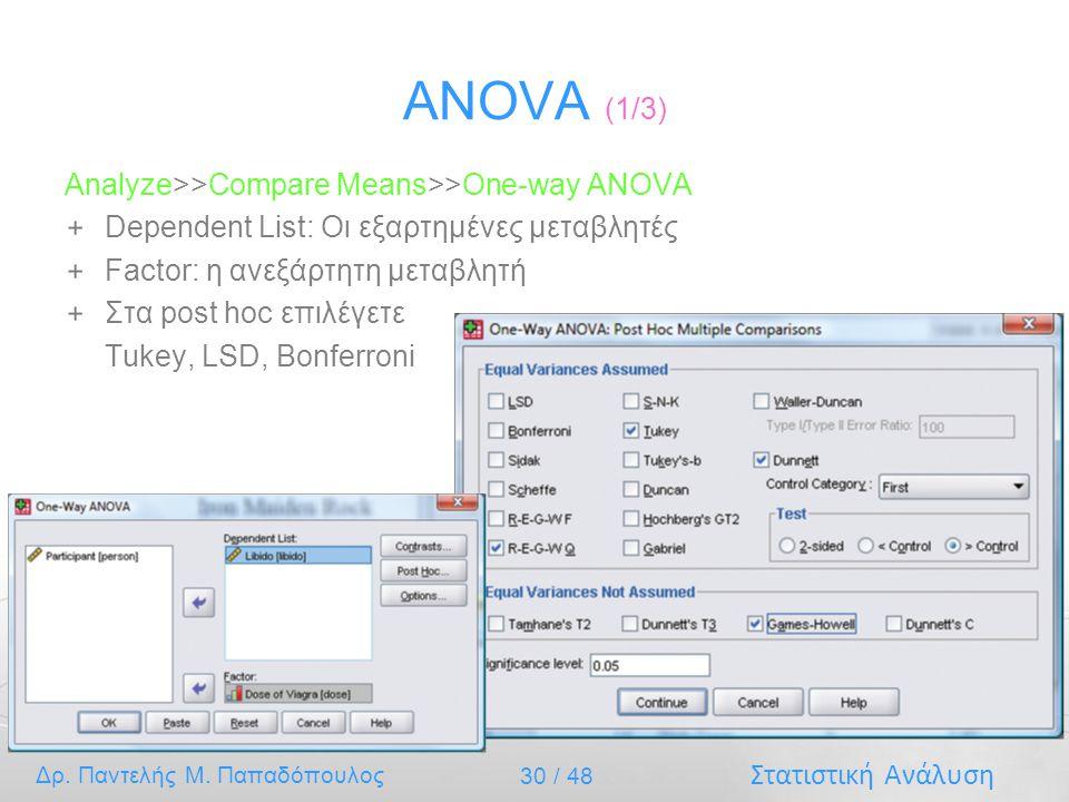 Στατιστική Ανάλυση Δρ. Παντελής Μ. Παπαδόπουλος 30 / 48 ANOVA (1/3) Analyze>>Compare Means>>One-way ANOVA Dependent List: Οι εξαρτημένες μεταβλητές Fa