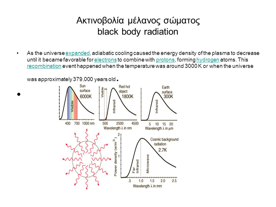 Ακτινοβολία μέλανος σώματος black body radiation As the universe expanded, adiabatic cooling caused the energy density of the plasma to decrease until it became favorable for electrons to combine with protons, forming hydrogen atoms.