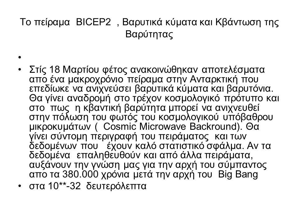 Το πείραμα BICEP2, Βαρυτικά κύματα και Κβάντωση της Βαρύτητας Στίς 18 Μαρτίου φέτος ανακοινώθηκαν αποτελέσματα απο ένα μακροχρόνιο πείραμα στην Ανταρκ