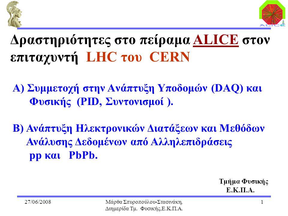 27/06/2008Μάρθα Σπυροπούλου-Στασινάκη, Διημερίδα Τμ. Φυσικής,Ε.Κ.Π.Α. 1 Α) Συμμετοχή στην Aνάπτυξη Yποδομών (DAQ) και Φυσικής (PID, Συντονισμοί ). Β)