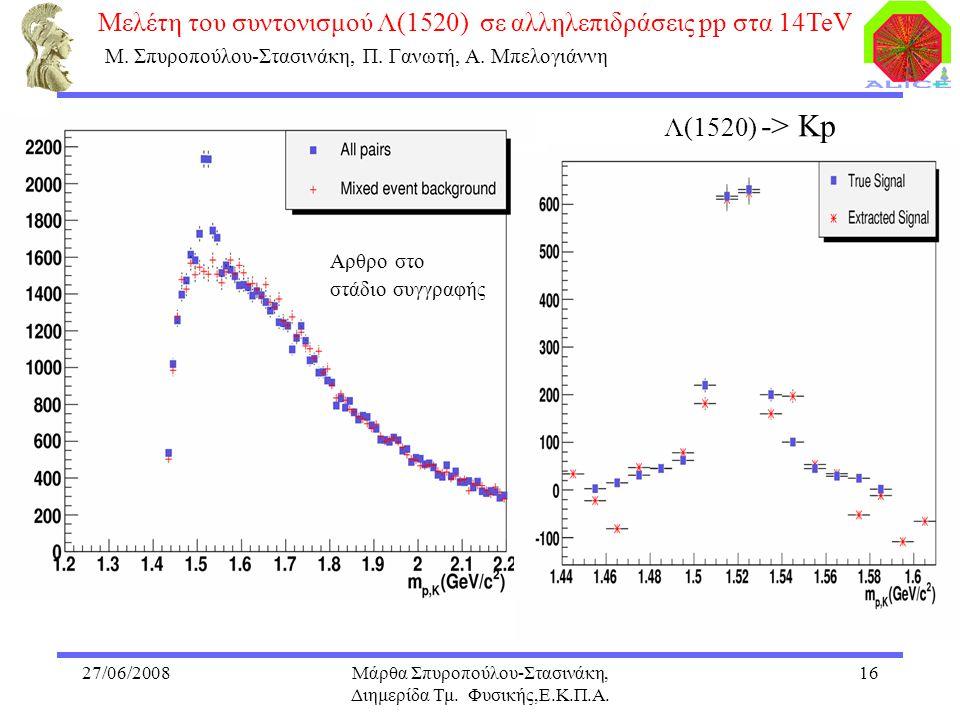 27/06/2008Μάρθα Σπυροπούλου-Στασινάκη, Διημερίδα Τμ. Φυσικής,Ε.Κ.Π.Α. 16 Μελέτη του συντονισμού Λ(1520) σε αλληλεπιδράσεις pp στα 14TeV Μ. Σπυροπούλου