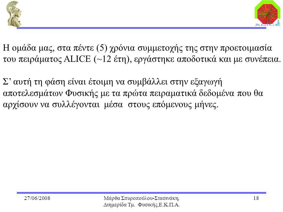 27/06/2008Μάρθα Σπυροπούλου-Στασινάκη, Διημερίδα Τμ. Φυσικής,Ε.Κ.Π.Α. 18 Η ομάδα μας, στα πέντε (5) χρόνια συμμετοχής της στην προετοιμασία του πειράμ