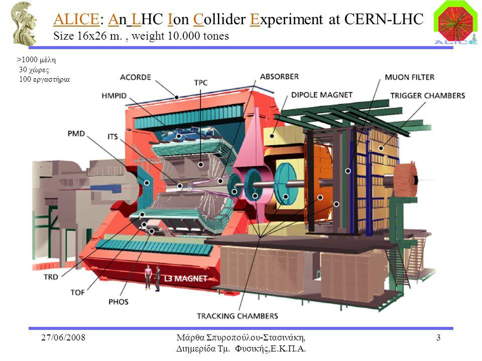 27/06/2008Μάρθα Σπυροπούλου-Στασινάκη, Διημερίδα Τμ. Φυσικής,Ε.Κ.Π.Α. 3 ALICE: An LHC Ion Collider Experiment at CERN-LHC Size 16x26 m., weight 10.000
