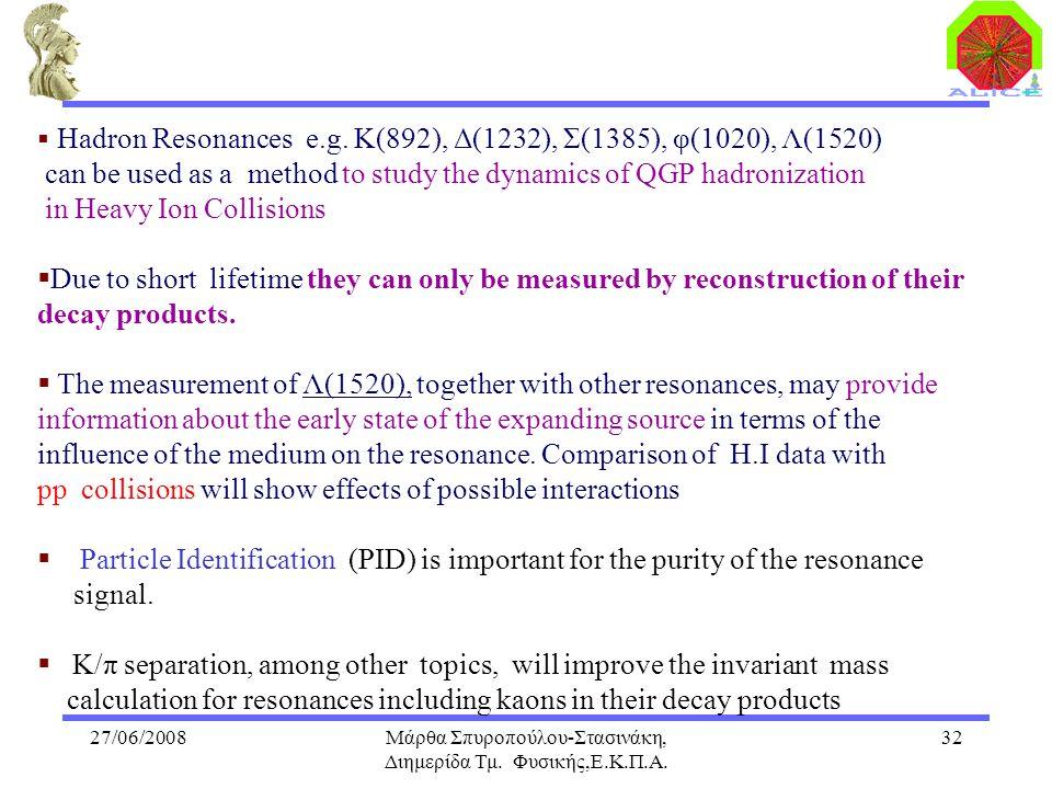27/06/2008Μάρθα Σπυροπούλου-Στασινάκη, Διημερίδα Τμ. Φυσικής,Ε.Κ.Π.Α. 32  Hadron Resonances e.g. K(892), Δ(1232), Σ(1385), φ(1020), Λ(1520) can be us