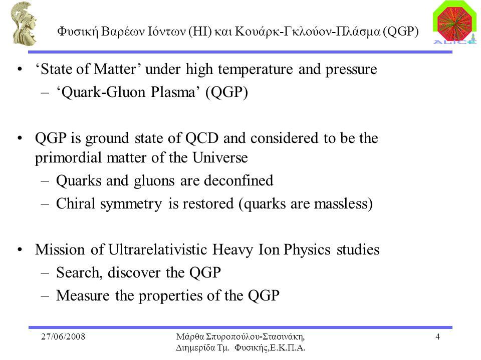27/06/2008Μάρθα Σπυροπούλου-Στασινάκη, Διημερίδα Τμ. Φυσικής,Ε.Κ.Π.Α. 4 'State of Matter' under high temperature and pressure –'Quark-Gluon Plasma' (Q