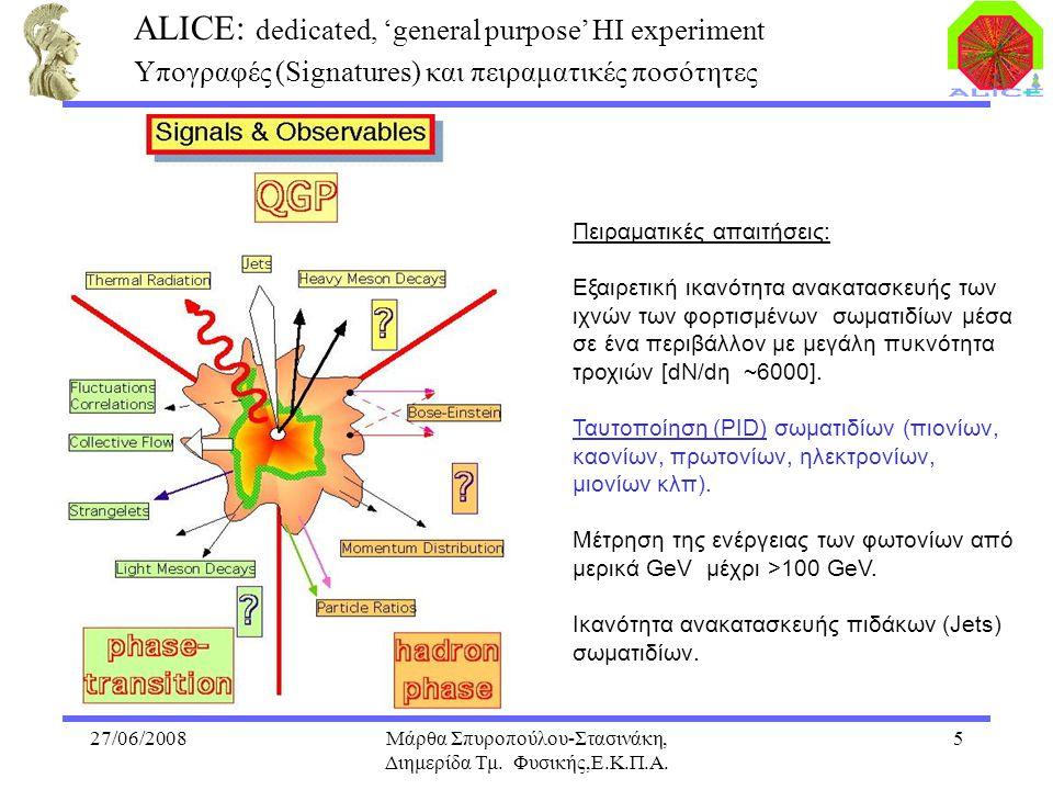 27/06/2008Μάρθα Σπυροπούλου-Στασινάκη, Διημερίδα Τμ. Φυσικής,Ε.Κ.Π.Α. 5 ALICE: dedicated, 'general purpose' HI experiment Υπογραφές (Signatures) και π