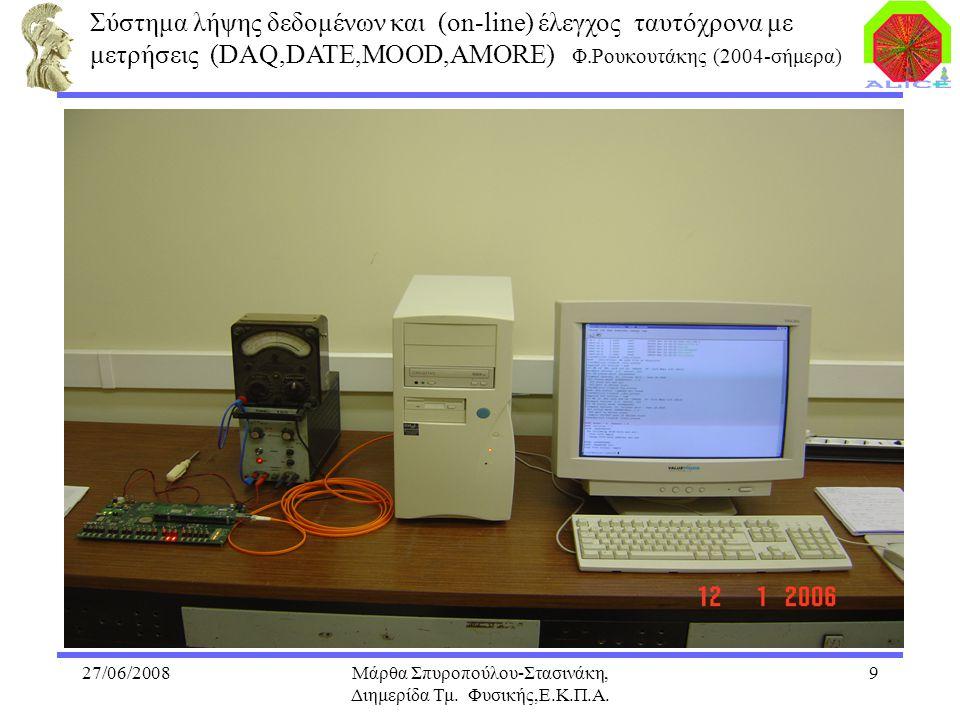 27/06/2008Μάρθα Σπυροπούλου-Στασινάκη, Διημερίδα Τμ. Φυσικής,Ε.Κ.Π.Α. 9 Σύστημα λήψης δεδομένων και (on-line) έλεγχος ταυτόχρονα με μετρήσεις (DAQ,DAT