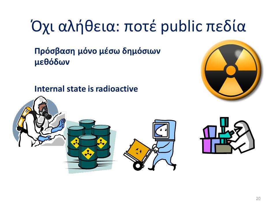 Όχι αλήθεια: ποτέ public πεδία Πρόσβαση μόνο μέσω δημόσιων μεθόδων Internal state is radioactive 20