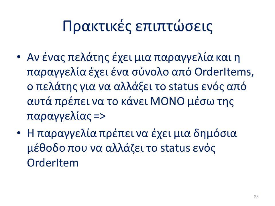 Πρακτικές επιπτώσεις Αν ένας πελάτης έχει μια παραγγελία και η παραγγελία έχει ένα σύνολο από OrderItems, ο πελάτης για να αλλάξει το status ενός από αυτά πρέπει να το κάνει ΜΟΝΟ μέσω της παραγγελίας => Η παραγγελία πρέπει να έχει μια δημόσια μέθοδο που να αλλάζει το status ενός OrderItem 23