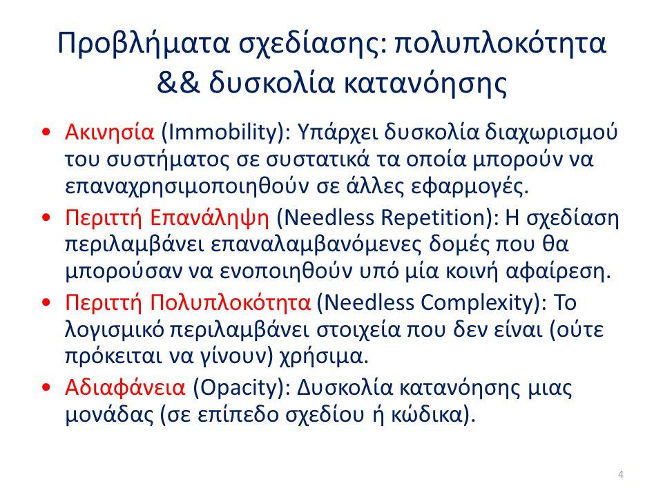 Προβλήματα σχεδίασης: πολυπλοκότητα && δυσκολία κατανόησης Ακινησία (Immobility): Υπάρχει δυσκολία διαχωρισμού του συστήματος σε συστατικά τα οποία μπορούν να επαναχρησιμοποιηθούν σε άλλες εφαρμογές.