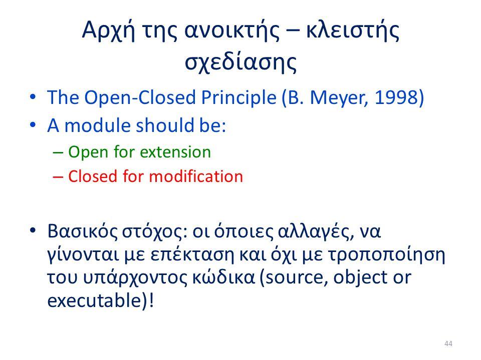 Αρχή της ανοικτής – κλειστής σχεδίασης The Open-Closed Principle (B.