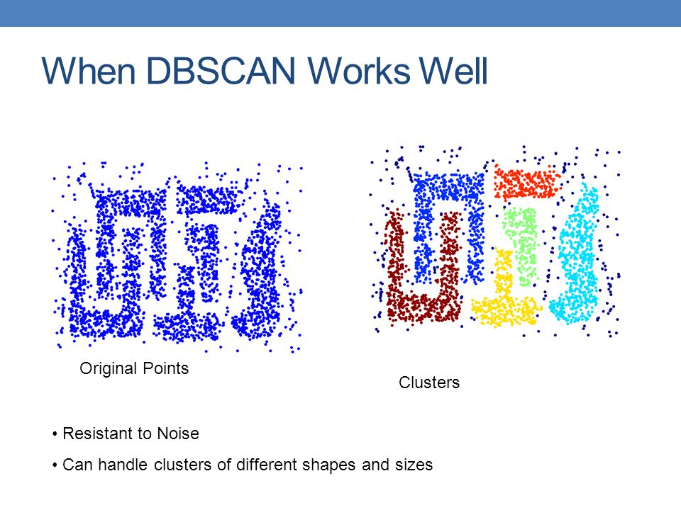 When DBSCAN Works Well Original Points Clusters Resistant to Noise Can handle clusters of different shapes and sizes