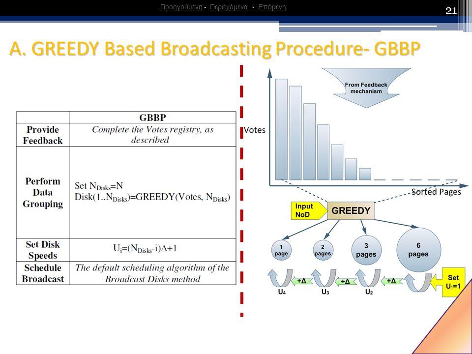 21 A. GREEDY Based Broadcasting Procedure- GBBP ΠροηγούμενηΠροηγούμενη - Περιεχόμενα - ΕπόμενηΠεριεχόμενα Επόμενη