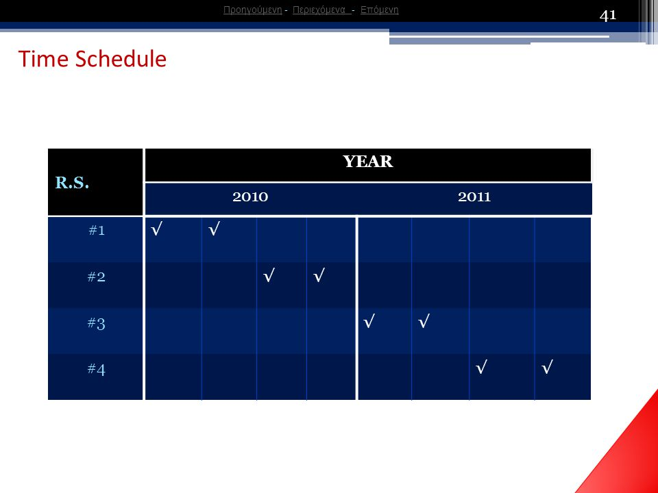 41 Time Schedule R.S.