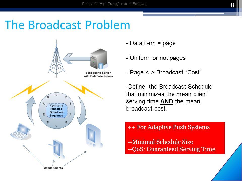 "8 The Broadcast Problem ΠροηγούμενηΠροηγούμενη - Περιεχόμενα - ΕπόμενηΠεριεχόμενα Επόμενη - Data item = page - Uniform or not pages - Page Broadcast """