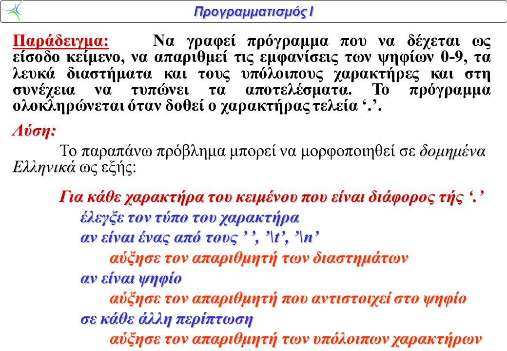 Προγραμματισμός Ι Παράδειγμα: Παράδειγμα:Να γραφεί πρόγραμμα που να δέχεται ως είσοδο κείμενο, να απαριθμεί τις εμφανίσεις των ψηφίων 0-9, τα λευκά διαστήματα και τους υπόλοιπους χαρακτήρες και στη συνέχεια να τυπώνει τα αποτελέσματα.
