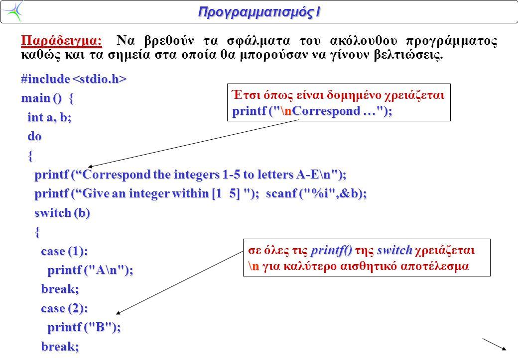 Προγραμματισμός Ι Παράδειγμα: Παράδειγμα:Να βρεθούν τα σφάλματα του ακόλουθου προγράμματος καθώς και τα σημεία στα οποία θα μπορούσαν να γίνουν βελτιώσεις.