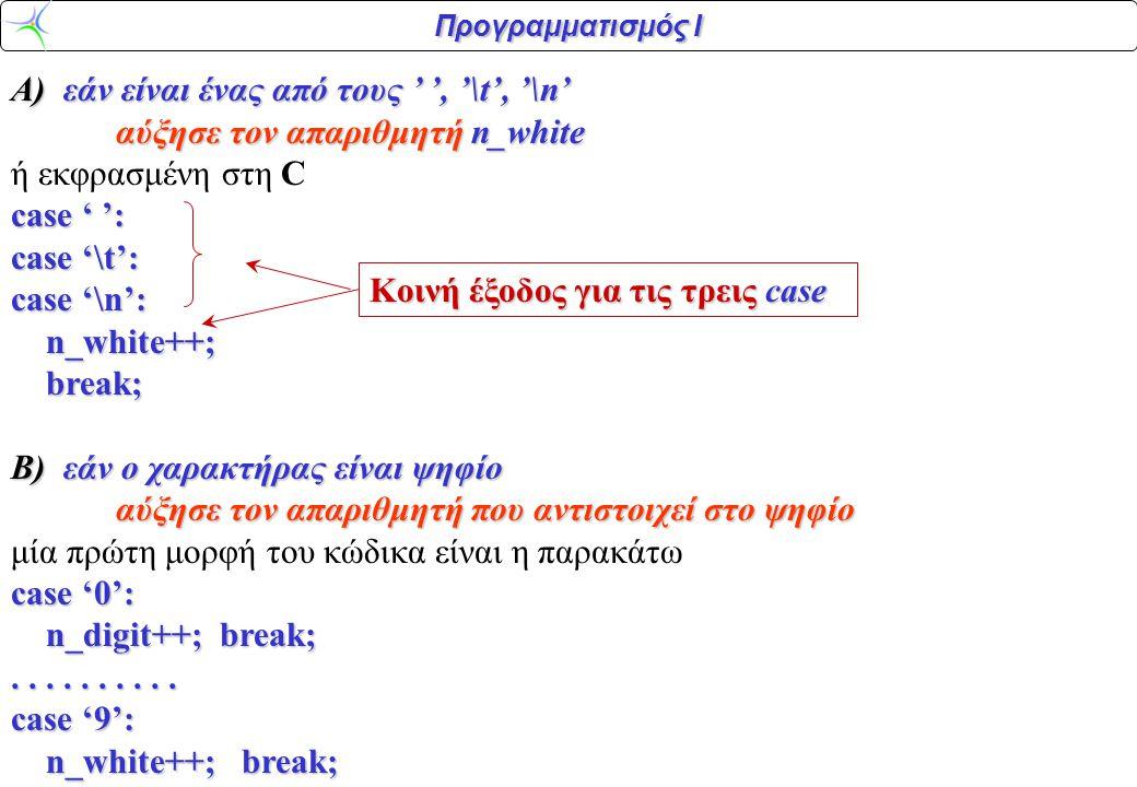 Προγραμματισμός Ι case O κώδικας αυτός δεν εκμεταλλεύεται τη δήλωση των απαριθμητών των ψηφίων ως πίνακα χαρακτήρων.