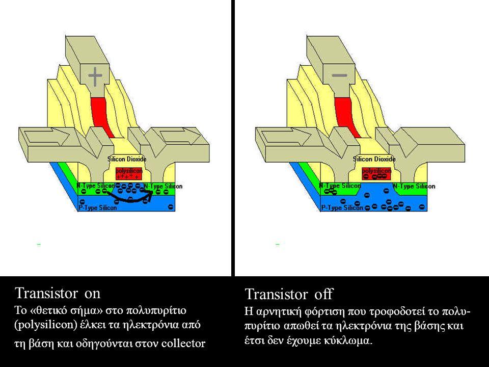 Transistor on Το «θετικό σήμα» στο πολυπυρίτιο (polysilicon) έλκει τα ηλεκτρόνια από τη βάση και οδηγούνται στον collector Transistor off Η αρνητική φόρτιση που τροφοδοτεί το πολυ- πυρίτιο απωθεί τα ηλεκτρόνια της βάσης και έτσι δεν έχουμε κύκλωμα.