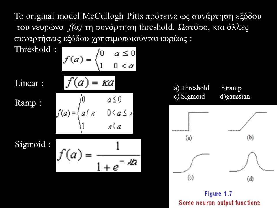 Το original model McCullogh Pitts πρότεινε ως συνάρτηση εξόδου του νευρώνα f(α) τη συνάρτηση threshold. Ωστόσο, και άλλες συναρτήσεις εξόδου χρησιμοπο