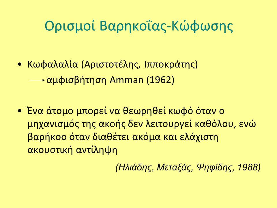 Ορισμοί Βαρηκοΐας-Κώφωσης Κωφαλαλία (Αριστοτέλης, Ιπποκράτης) αμφισβήτηση Amman (1962) Ένα άτομο μπορεί να θεωρηθεί κωφό όταν ο μηχανισμός της ακοής δεν λειτουργεί καθόλου, ενώ βαρήκοο όταν διαθέτει ακόμα και ελάχιστη ακουστική αντίληψη (Ηλιάδης, Μεταξάς, Ψηφίδης, 1988)