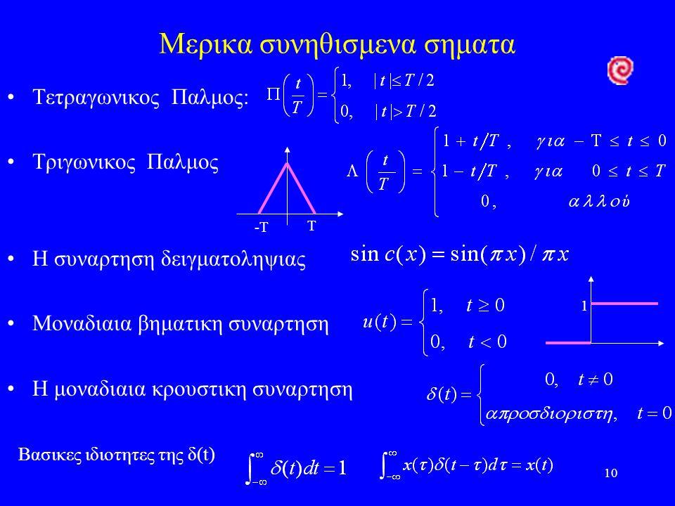 10 Μερικα συνηθισμενα σηματα Τετραγωνικος Παλμος: Τριγωνικος Παλμος Η συναρτηση δειγματοληψιας Μοναδιαια βηματικη συναρτηση Η μοναδιαια κρουστικη συναρτηση Βασικες ιδιοτητες της δ(t) T -T 1