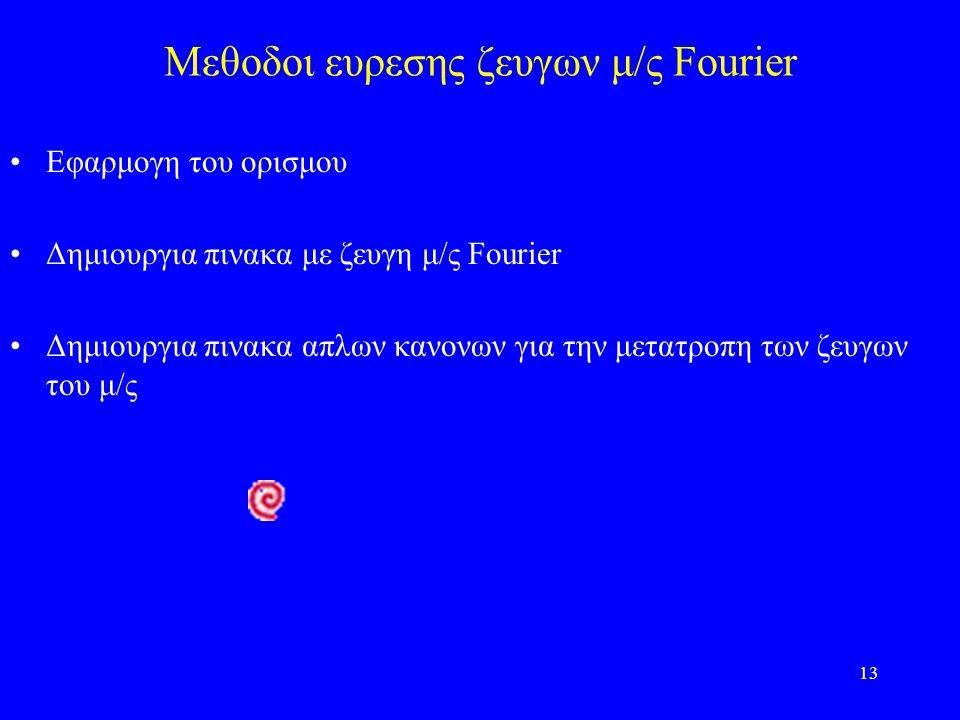13 Μεθοδοι ευρεσης ζευγων μ/ς Fourier Εφαρμογη του ορισμου Δημιουργια πινακα με ζευγη μ/ς Fourier Δημιουργια πινακα απλων κανονων για την μετατροπη των ζευγων του μ/ς