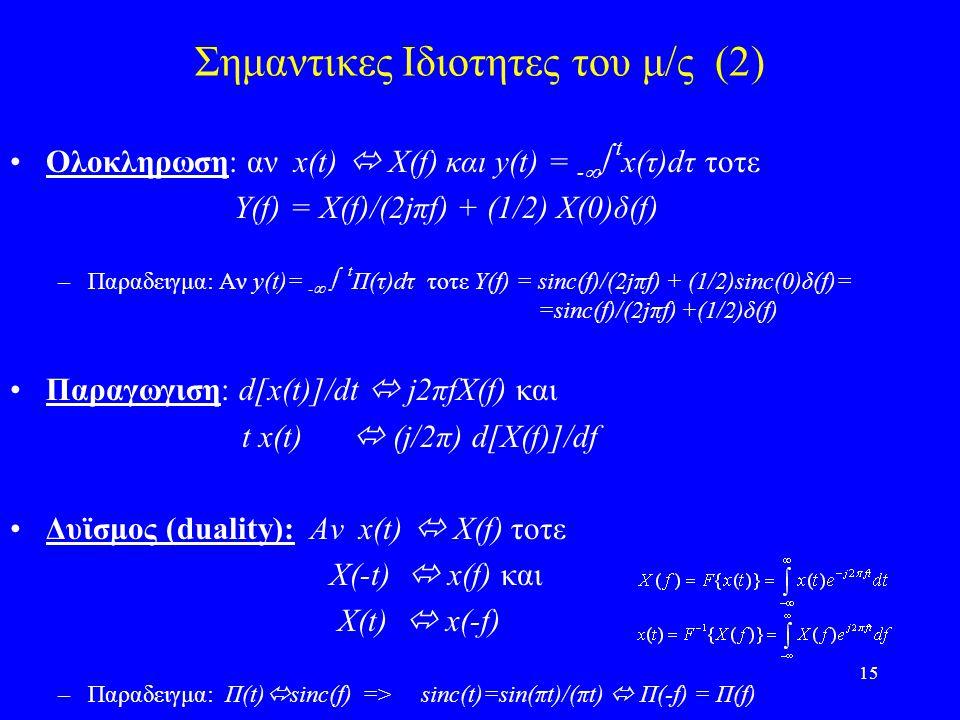 15 Σημαντικες Ιδιοτητες του μ/ς (2) Ολοκληρωση: αν x(t)  X(f) και y(t) = -   t x(τ)dτ τοτε Y(f) = X(f)/(2jπf) + (1/2) X(0)δ(f) –Παραδειγμα: Αν y(t)= -   t Π(τ)dτ τοτε Υ(f) = sinc(f)/(2jπf) + (1/2)sinc(0)δ(f)= =sinc(f)/(2jπf) +(1/2)δ(f) Παραγωγιση: d[x(t)]/dt  j2πfX(f) και t x(t)  (j/2π) d[X(f)]/df Δυϊσμος (duality): Αν x(t)  X(f) τοτε Χ(-t)  x(f) και X(t)  x(-f) –Παραδειγμα: Π(t)  sinc(f) => sinc(t)=sin(πt)/(πt)  Π(-f) = Π(f)